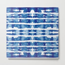 Shibori Vivid Indigo Blue and White Metal Print