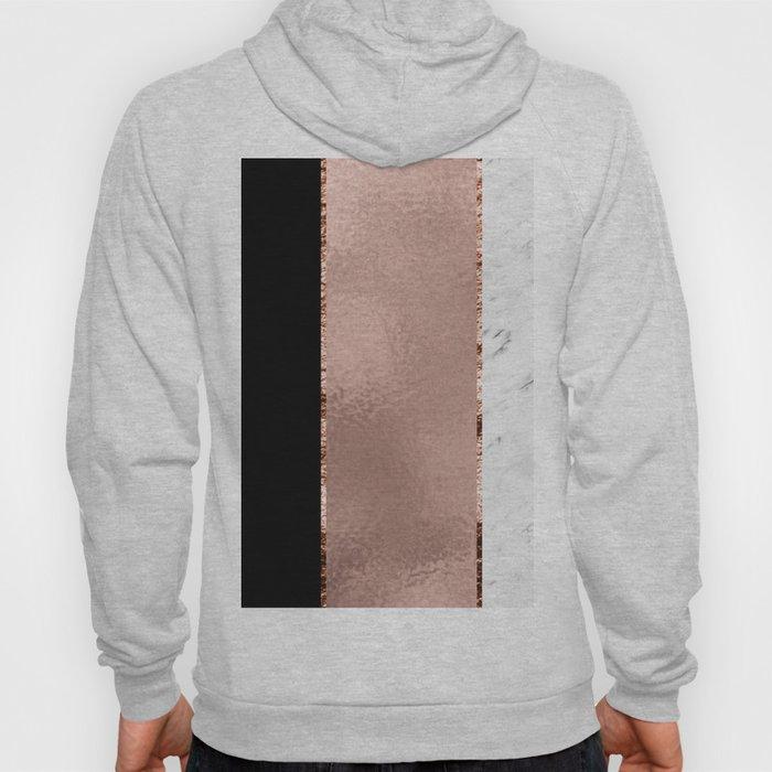 Rose metallic striping - marble and onyx Hoody