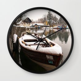 Boats At The Bled Lake Wall Clock