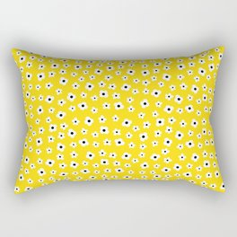 White Yellow Spring Flower Pattern Rectangular Pillow