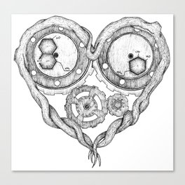 Chemistry of love: dopamine and serotonin formula (black and white version) Canvas Print