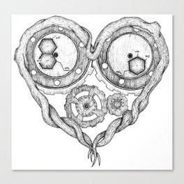 Chemistry of love: dopamine and serotonin formula (black and white version) Canvas Print