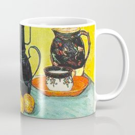 Still Life - Blue Enamel Coffeepot, Earthenware and Fruit by Vincent van Gogh - Vintage Painting Coffee Mug