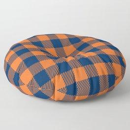 Buffalo Plaid - Navy Blue & Orange Floor Pillow