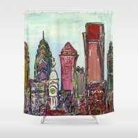 philadelphia Shower Curtains featuring Philadelphia Skyline by Britt Miller Art