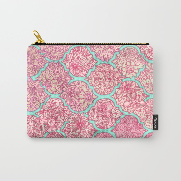 Moroccan Floral Lattice Arrangement in Pinks Carry-All Pouch