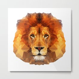 Geometric Lion Metal Print