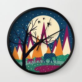 Mountains and elephants Wall Clock