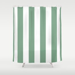 Sage Green & White Vertical Cabana Tent Stripes Shower Curtain