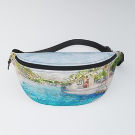Aquarelle sketch art. Landscape with blue sky, swimming pool and palm trees Fanny Pack
