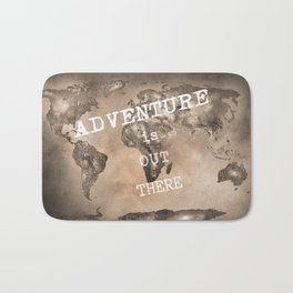 """""""Adventure is out there"""". Stars world map. Sepia. World map. Bath Mat"""