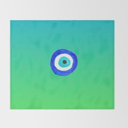 Single Evil Eye Amulet Talisman Ojo Nazar - ombre lime to tuquoise Throw Blanket
