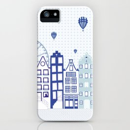 Dutch canal houses from Amsterdam in delft blue iPhone Case
