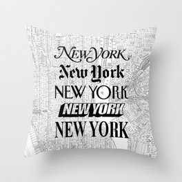 New York City black and white New York poster I love heart NYC Design black-white home wall decor Throw Pillow