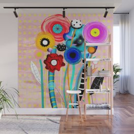 Yellow Polka Dots Floral Bouquet Wall Mural