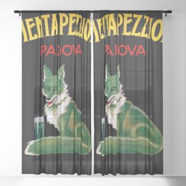 Vintage Menta Pezziol Padova Crazy like a fox Aperitif Lithograph Wall Art Sheer Curtain