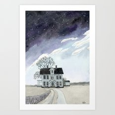 House under the Starry Skies Art Print