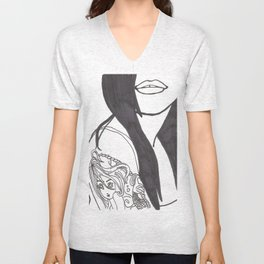 Girl With a Mermaid Tattoo Unisex V-Neck