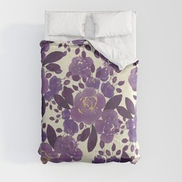 Elegant ivory gold lavender purple watercolor floral  Comforters