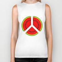 watermelon Biker Tanks featuring Watermelon by mailboxdisco
