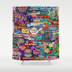 Vintage Neon Signs Shower Curtain