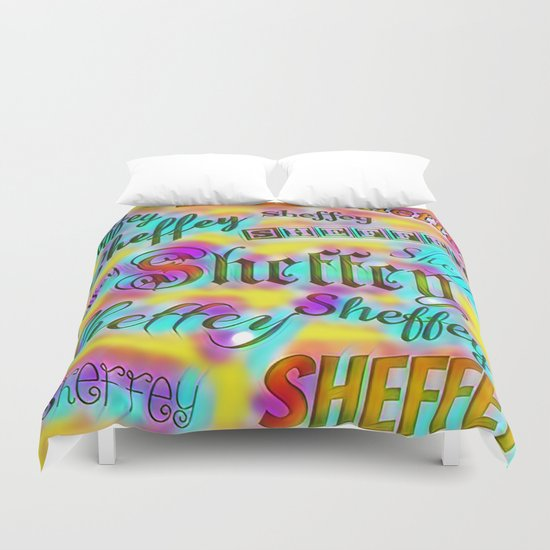 Sheffey Fonts - Yellow and Pink Rainbow 9642 Duvet Cover