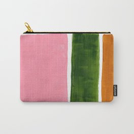 Colorful Minimalist Mid Century Modern Shapes Pink Olive Green Yellow Ochre Rothko Minimalist Square Carry-All Pouch