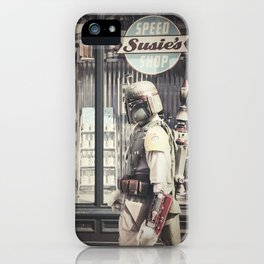 Boba Fett at Susie's Speed Shop iPhone Case