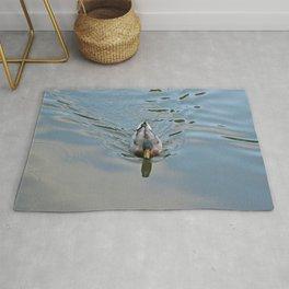 Mallard duck swimming in a turquoise lake 2 Rug