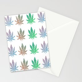 Colorful Cannabis Leaves Pattern Stationery Cards