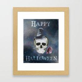 Happy Halloween Witch Skull with Dark Rose Framed Art Print