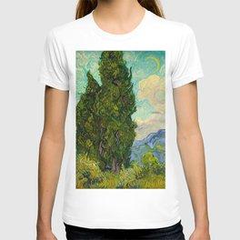 Cypresses Oil Painting Landscape Vincent van Gogh T-shirt