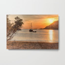 Sunset at Fellos beach in Andros island, Greece Metal Print
