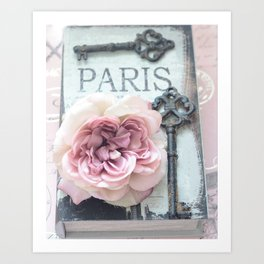 Paris Roses Skeleton Key Art  Art Print