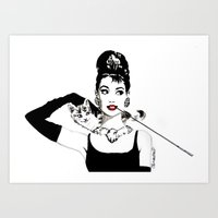 audrey Art Prints featuring Audrey by Clementine Petrova