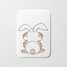 Drawn by hand a funny cute bunny or rabbit for children and adults in light beige and white Bath Mat