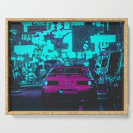 Retro Pixel Art Vaporwave Car Serving Tray