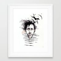 tim burton Framed Art Prints featuring Tim Burton by Jess Rose