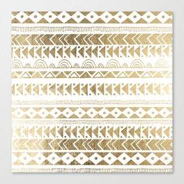 Boho Ethnic faux gold white aztec elegant geometrical Canvas Print