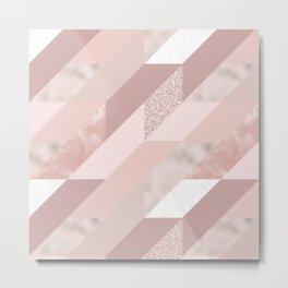 Abstract geometrical blush pink rose gold glitter Metal Print