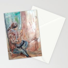 Street Musician in Rome Stationery Cards