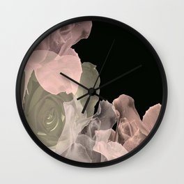 Blush Abstract Roses on Blackground Wall Clock