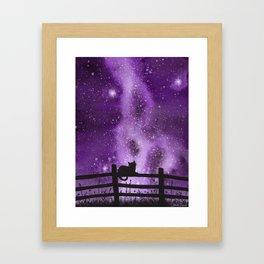 Night full of Sky Purple Watercolor Galaxy Painting Framed Art Print