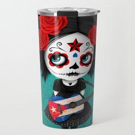 Day of the Dead Girl Playing Cuban Flag Guitar Travel Mug