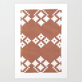 Geometric Pattern   Clay Background Art Print