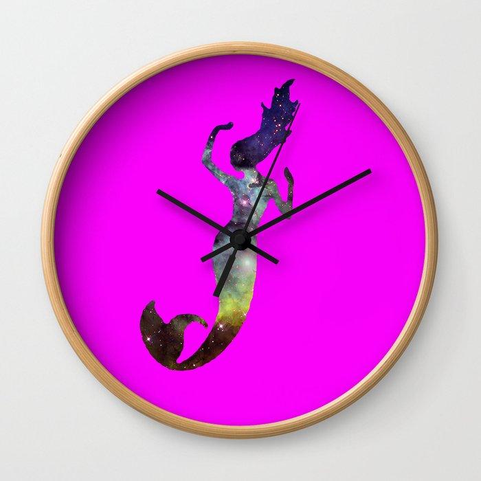 Galaxy Mermaid 2 (Pink) Wall Clock