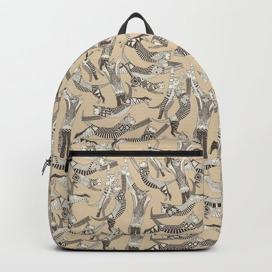 cat party beige natural Backpack