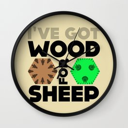 Wood for Sheep (Catan series) Wall Clock