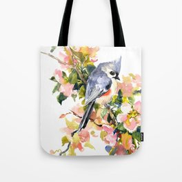Titmouse Bird and Spring Blossom, floral pink green spring colors Tote Bag