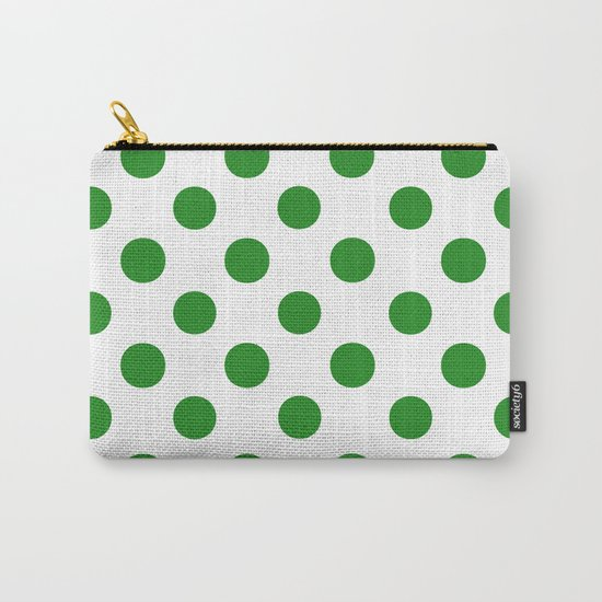Polka Dots (Forest Green/White) Carry-All Pouch